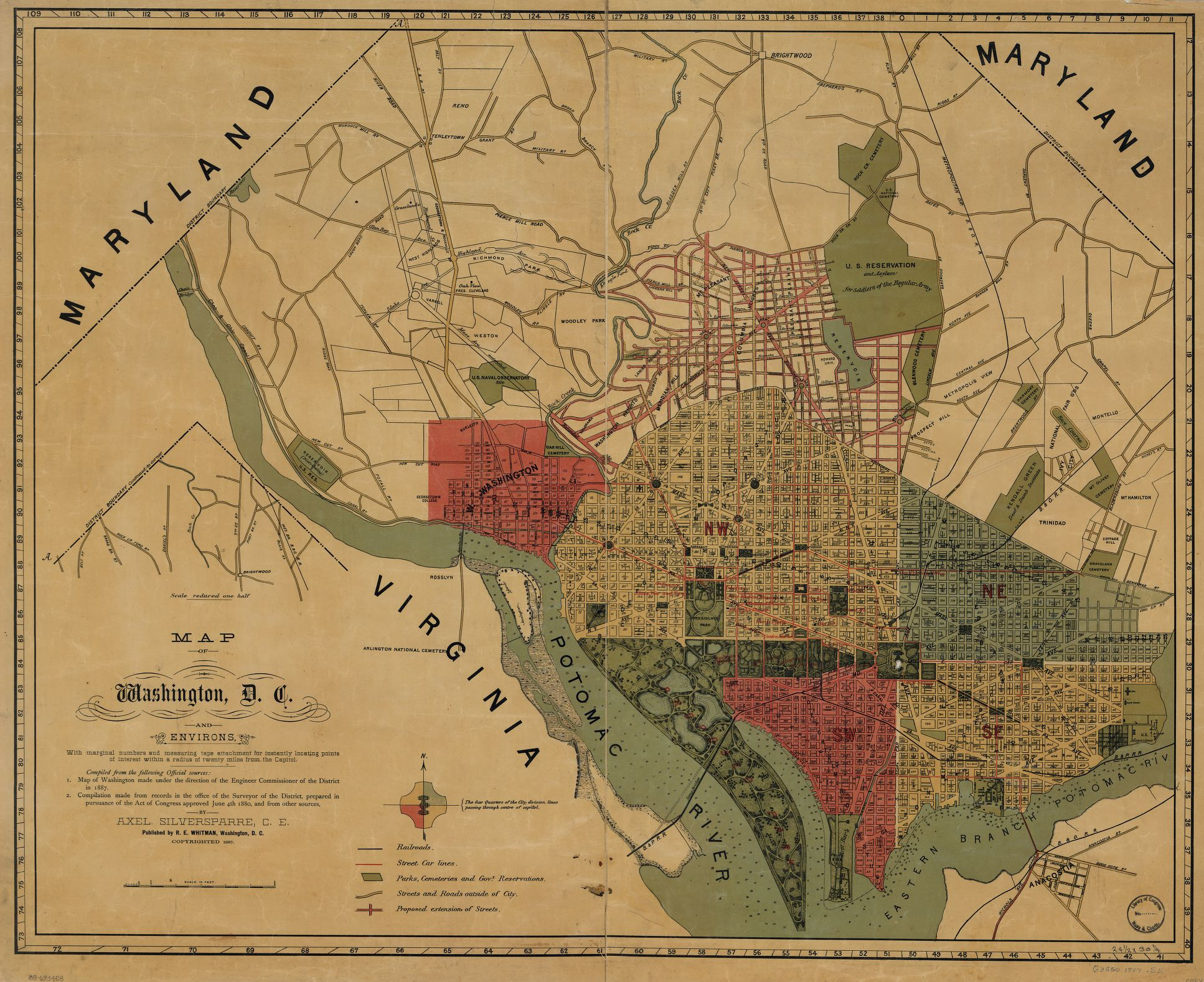 Petworth Dc Map.Popville Map Of The Week Vol 6 Washington D C And Environs 1887