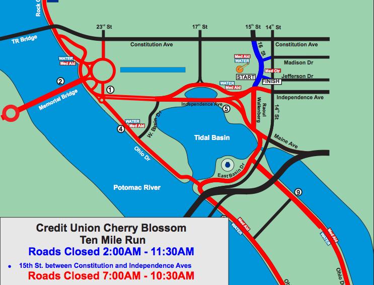 Popville Road Closures For Cherry Blossom 10 Miler Sunday