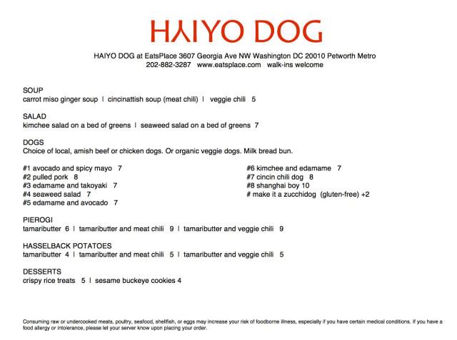 Haiyo Dog Menu