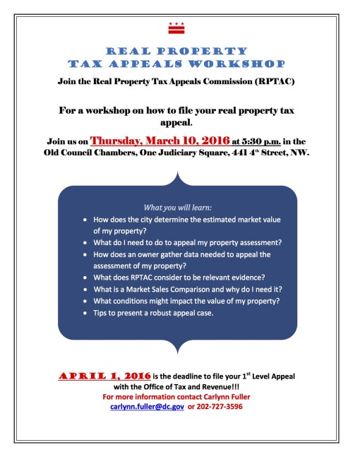 Flyer - Real Property Tax Appeals Workshop