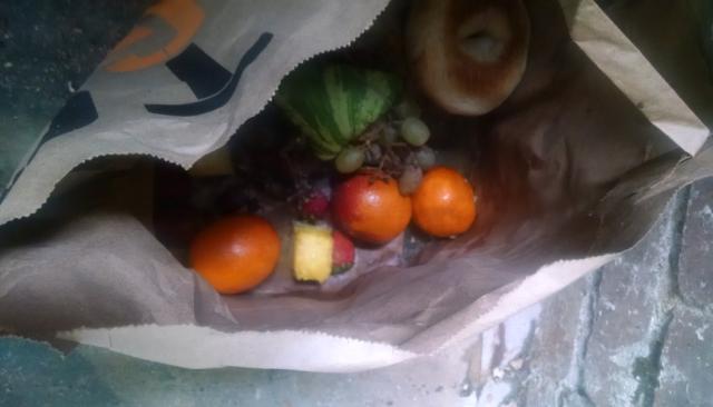 bag of rotting fruit