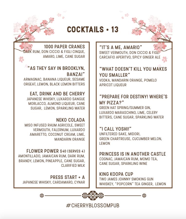 Cherry Blossom P.U.B. menu