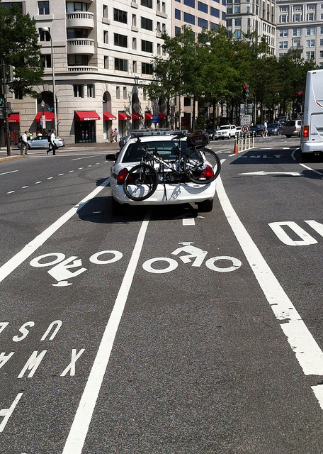 """To be clear: """"Vehicles are not permitted to enter a bicycle lane in order to avoid conflict with other traffic."""""""