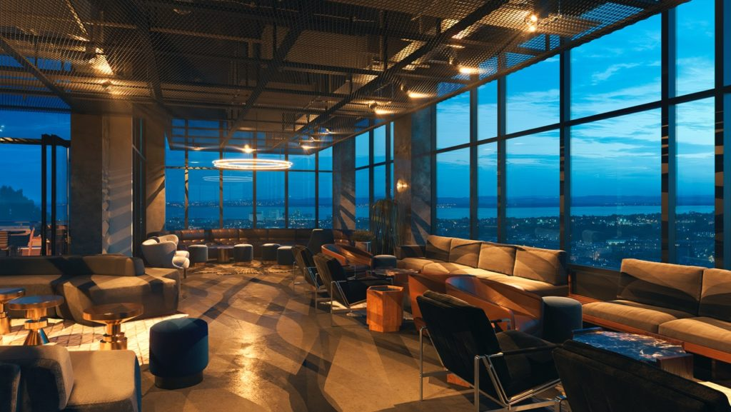 """The bar's large 13-foot floor-to-ceiling windows offer unparalleled sightlines"""