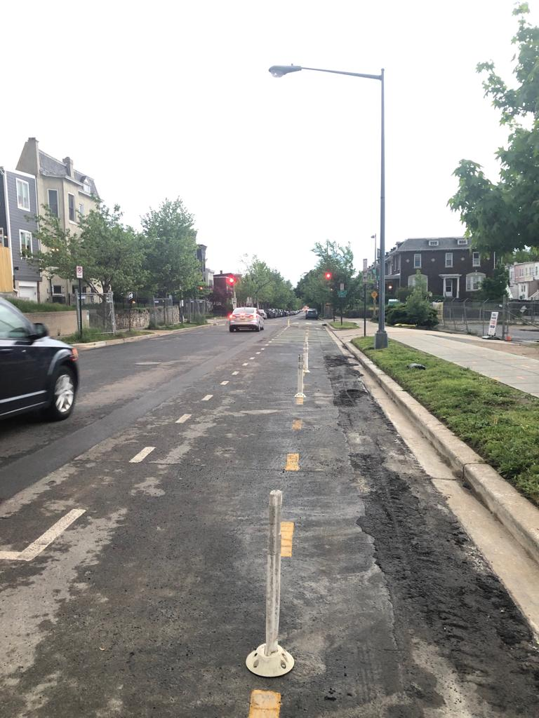 """""""The reinstalled flexposts are now providing separation between the bike lanes themselves leaving the northbound bike lane exposed"""""""