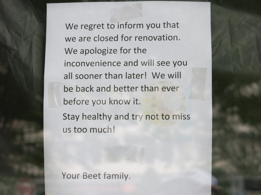 """PoPville » The Little Beet """"closed for renovation"""""""