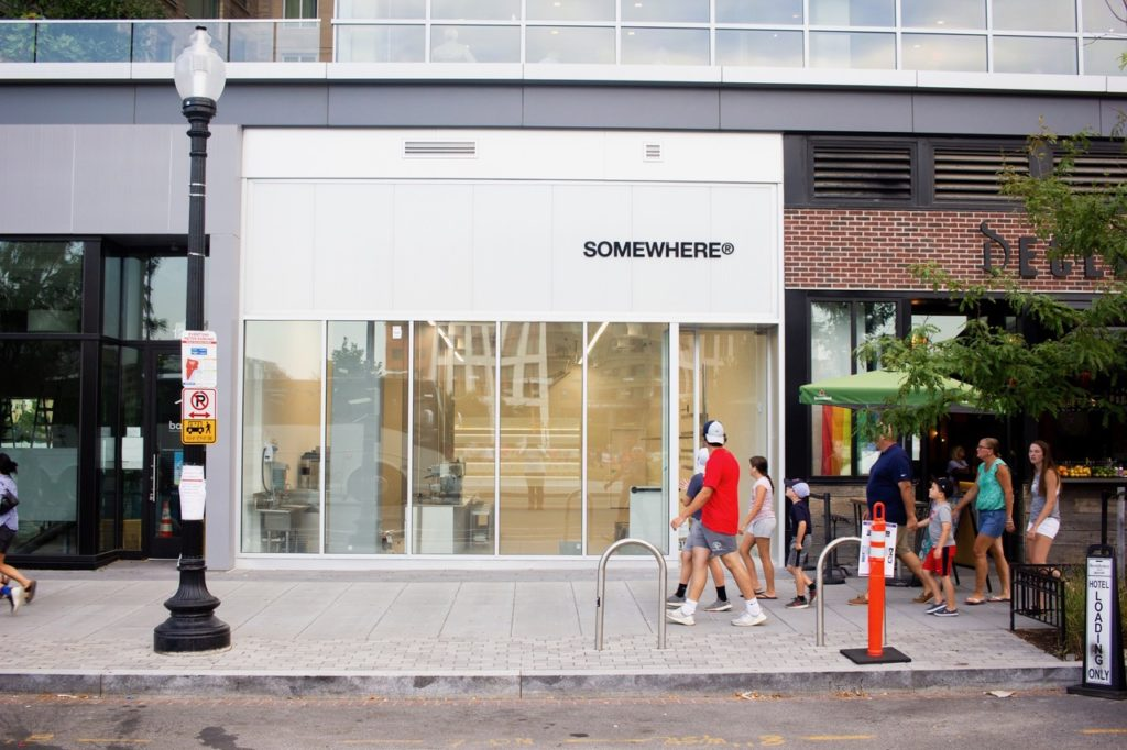 """""""SOMEWHERE® is a progressive mixed-use retail/café experience meant to push the boundaries of culture with a curated selection of multi-brand apparel, footwear, and coffees."""""""