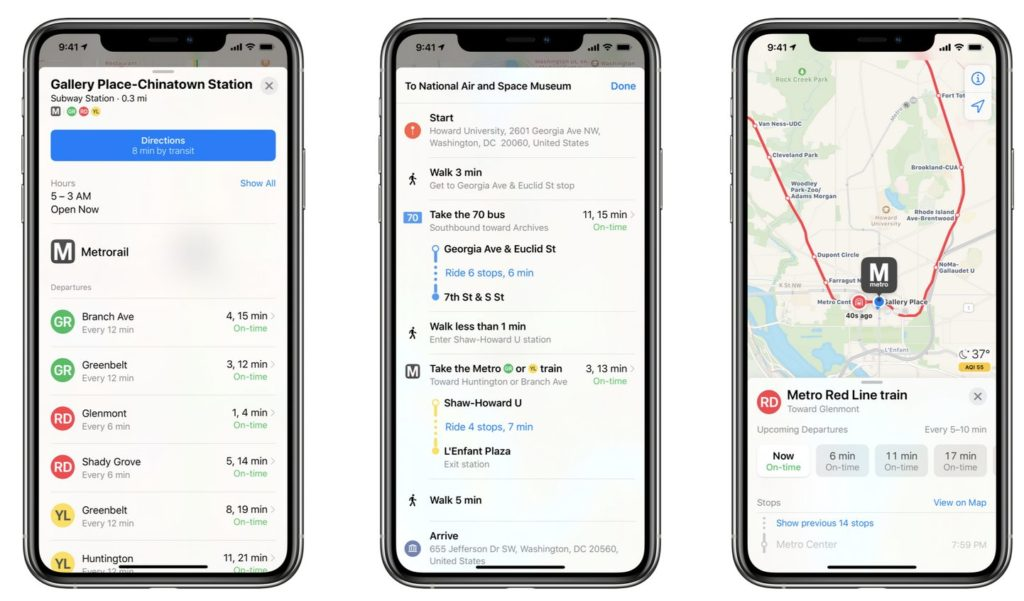 """""""Real-time Metro train and bus data now available in Apple Maps"""""""